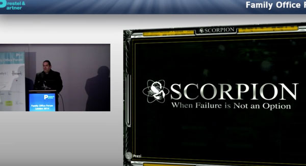 Walter O'Brien explains Scorpion's history and ConciergeUp.com at Global Wealth Summit